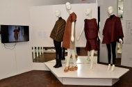 From Left to Right: Yeohlee Teng (Zero waste cape, Fall 2008: Olive nylon quilted cape, black microfiber bodysuit) Derek Lam (Leather day ensemble, Spring 2012: Caramel bonded leather dress with flax linen back, white honeycomb jacquard sleeveless sweather, caramel embossed leather, 'Belize' platform wedges) Yeohlee Teng (Circle ensemble, Fall 2012: Aubergine silk circle top, aubergine silk dress)