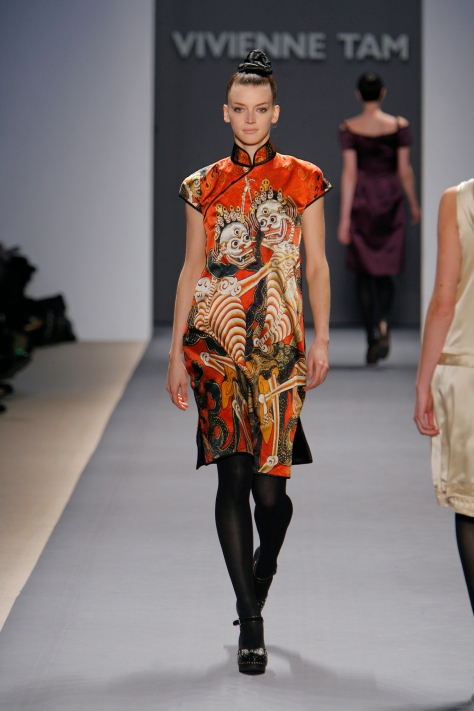 : Vivienne Tam, Skeleton print stretch netting cheongsam with black satin piping detail, Fall 2007, photographed by Dan Lecca