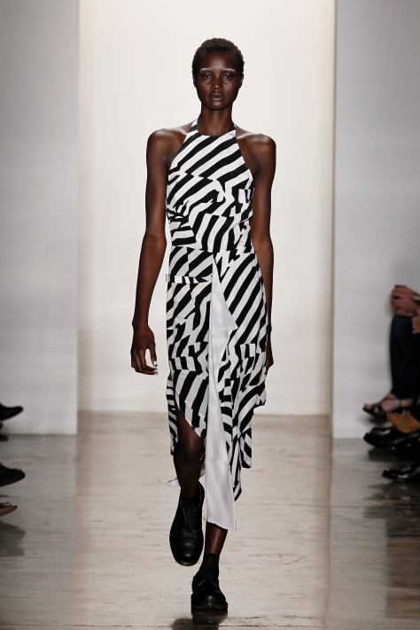 Wayne Lee, Black and White Optic Print Halter Dress, Spring 2012, photographed by Dan Lecca