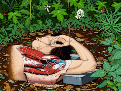 Chen Fei Renaissance in the Bush Acrylic on canvas  60 x 80 cm Image courtesy of Galerie Perrotin