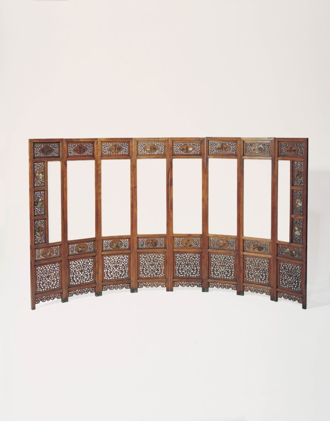 An eight-panel screen made of huanghuali and semi-precious stone Northern China • Late 17th or Early 18th Century